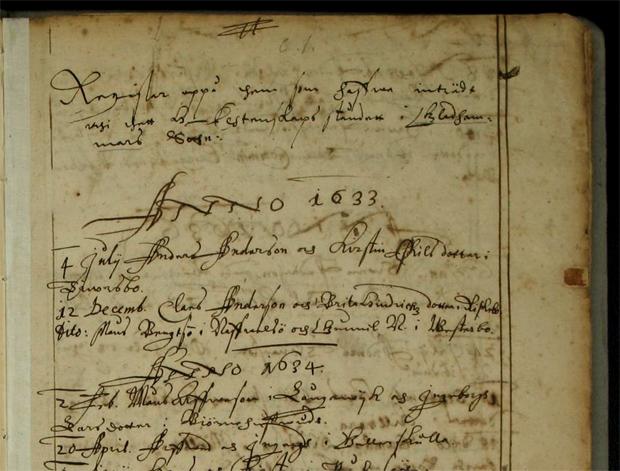 Denna kyrkbok från Gladhammar 1633 finns även i de digitala arkiven.